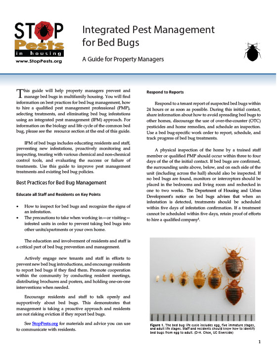 Integrated Pest Management for Bed Bugs