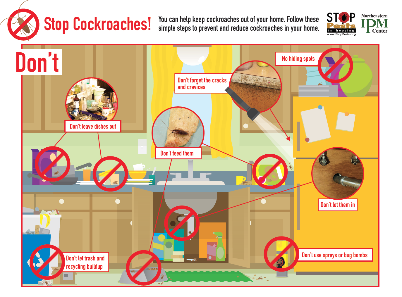 a guide with pictures shows what you should not do when treventing and controlling cockroaches.